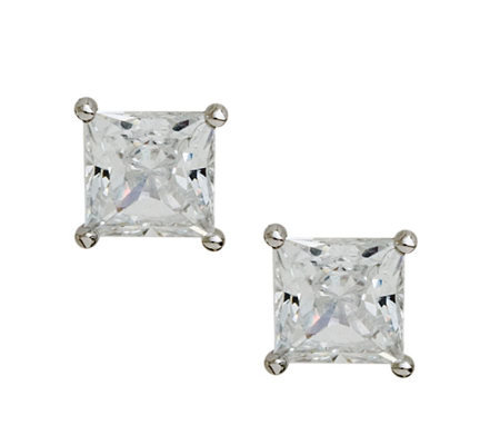Diamonique 1.50 cttw Princess Cut Stud Earrings , Platinum Cla