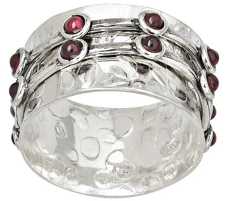 Or Paz Sterling Double Spinner Garnet Ring