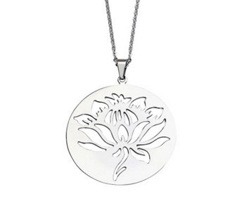 "Stainless Steel Flower Cutout Disc Pendant w/22"" Chain - J311224"