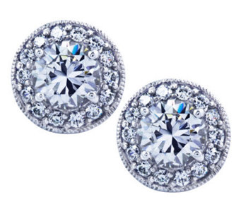 Diamonique Sterling Round Halo Stud Earrings - J311924