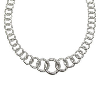 "Judith Ripka Sterling Silver 16"" Textured LinkNecklace - J312324"