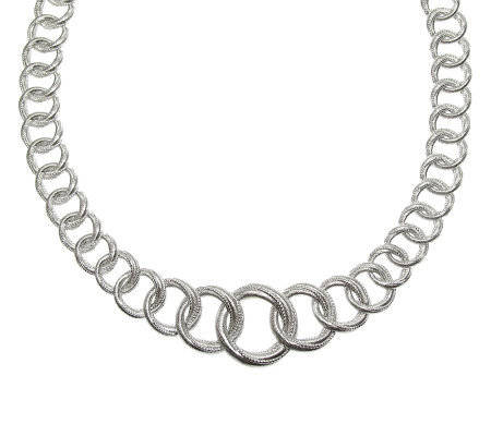 "Judith Ripka Sterling Silver 16"" Textured LinkNecklace"