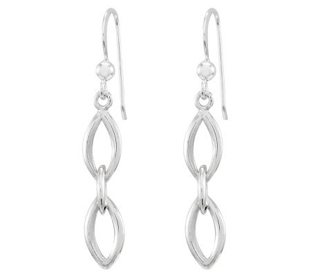 Sterling Polished Marquise Link Dangle Earrings