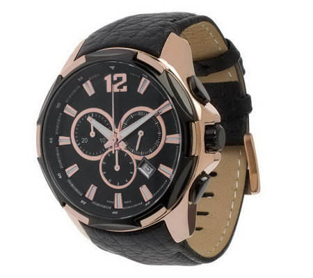 Bronzo Italia Oversized Chronograph Leather Strap Watch