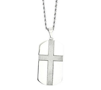 "Forza Stainless Steel Cross Design Dog Tag Pendant w/24""Chain - J313124"