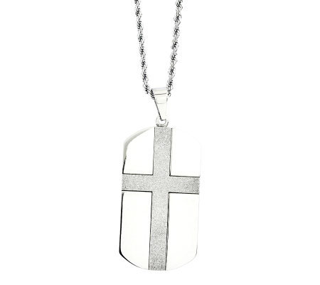 "Forza Stainless Steel Cross Design Dog Tag Pendant w/24""Chain"