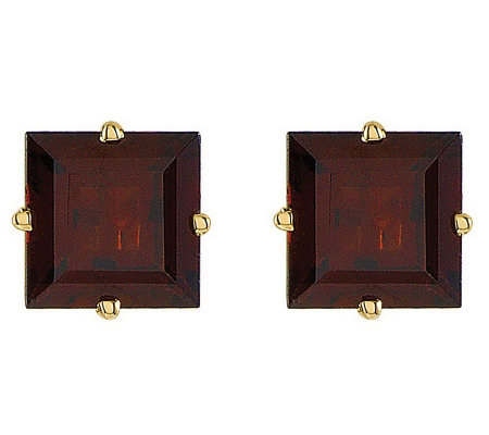 Large Square Princess-Cut Gemstone Stud Earrings, 14K Gold