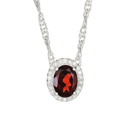 Sterling Oval Gemstone 1/8 ct tw Diamond Halo Pendant w/ Chai