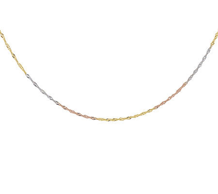 "18"" Tricolor Diamond-Cut Rope Chain Necklace, 14K Gold"