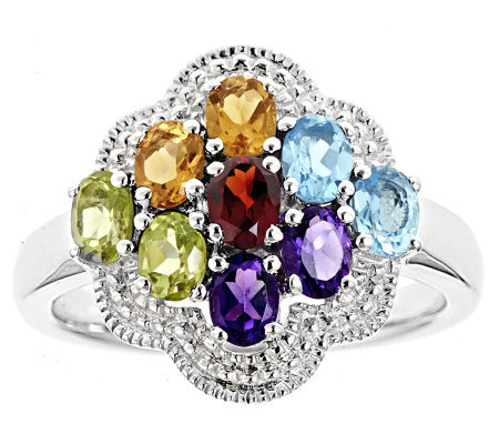 Multi-Gemstone Flower Cluster Ring, Sterling