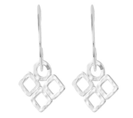 Sterling Polished J-Hoop with Hammered Dangle Earrings