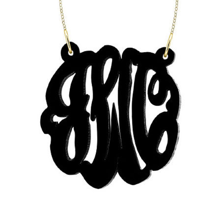 "1-1/2"" Acrylic Script Monogram Necklace, 24K Plated Sterling"