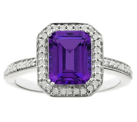 Sterling Emerald-Cut Gemstone & 1/4 cttw Diamond Ring