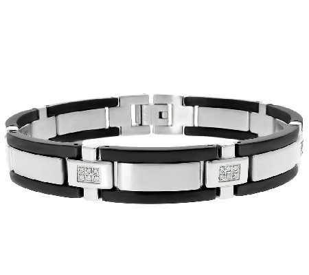 Stainless Steel Men's Bracelet w/Black Plating/Diamond Accent