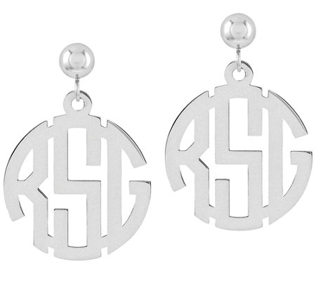Sterling Polished Circle Block Monogram DangleEarrings