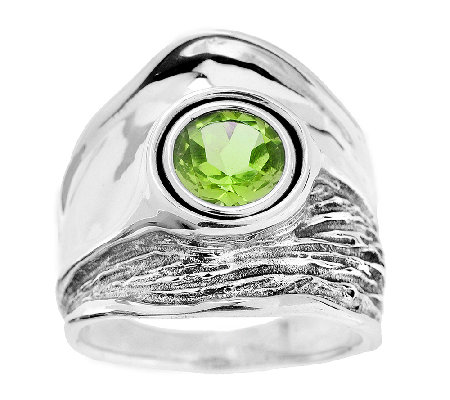 Hagit Sterling Textured and Polished Gemstone Ring