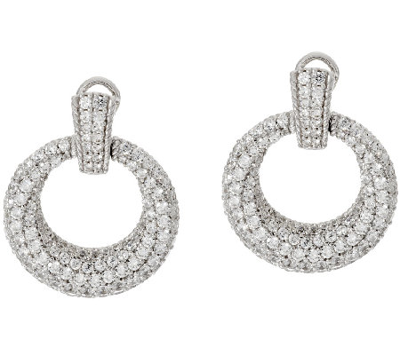 Judith Ripka Sterling 6.10 cttw Diamonique Hoop Earrings