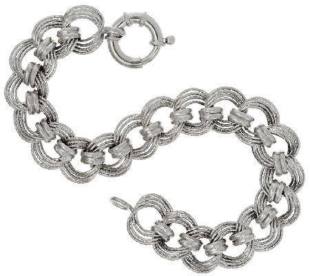"Vicenza Silver Sterling 8"" Diamond Cut Status Curb Link Bracelet"
