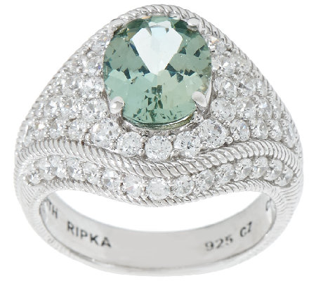 Judith Ripka Sterling Apatite & Diamonique Ring