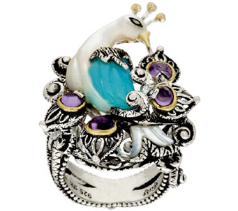 Barbara Bixby Sterling & 18K Blue Chalcedony & Amethyst Peacock Ring - J320124