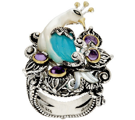 Barbara Bixby Sterling & 18K Blue Chalcedony & Amethyst Peacock Ring