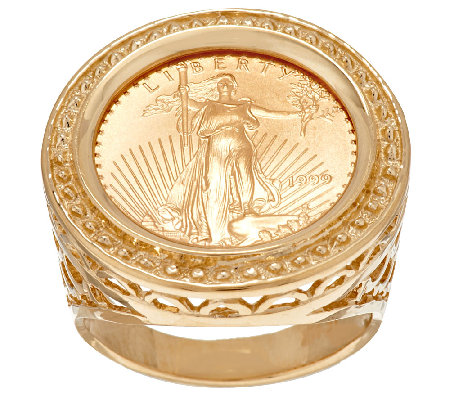 """As Is"" 14K/22K Gold Liberty Coin Bead Border Ring"