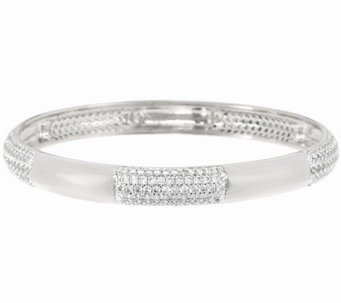 Bronze Polished Crystal Station Round Slip-on Bangle by Bronzo Italia - J321424