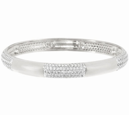 Bronze Polished Crystal Station Round Slip-on Bangle by Bronzo Italia