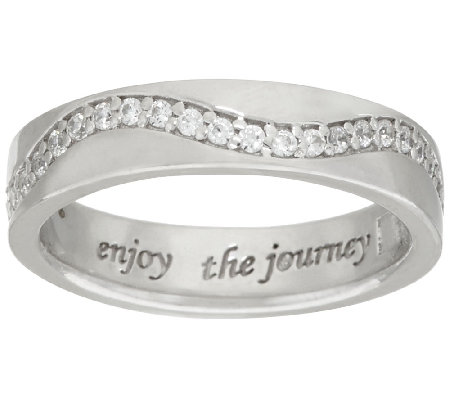 Diamonique Inspirational Message Wide Band Ring, Sterling