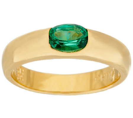 The Elizabeth Taylor Simulated Emerald Stack Gem Ring