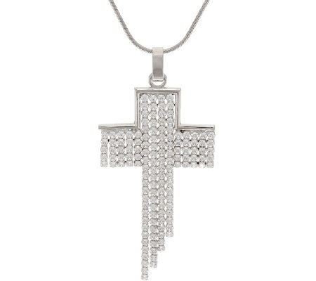 """As Is"" VicenzaSilver Limited Edition Diagonal Cross Pendant w/Chain"