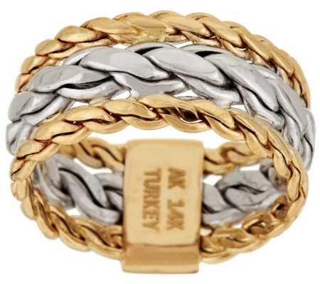 """As Is"" 14K Gold Braided Woven Curb Link Design Ring"