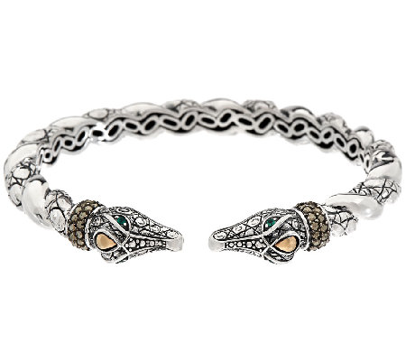 JAI Sterling & 14K Marcasite Double Head Croco Cuff