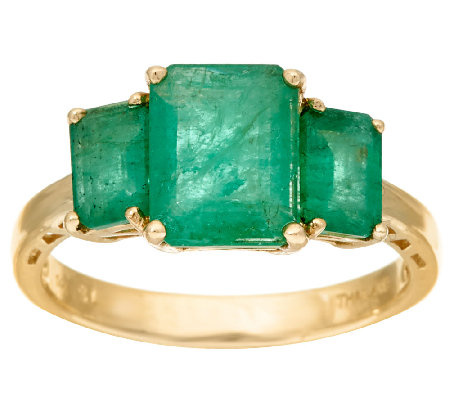 Emerald Cut Zambian Emerald 3-Stone Ring, 14K, 2.50 cttw