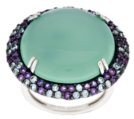 """As Is"" Graziela Gems Chalcedony & Gemstone Bold Sterling Ring"