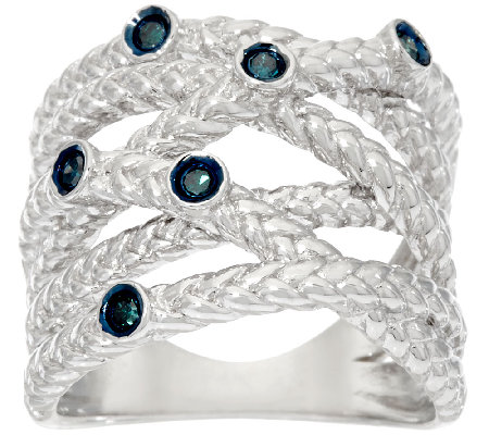 Bezel Set Crossover Diamond Ring, Sterling, 1/10 cttw, Affinity
