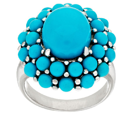 """As Is"" Sleeping Beauty Turquoise Oval Cluster Design Sterling Ring"