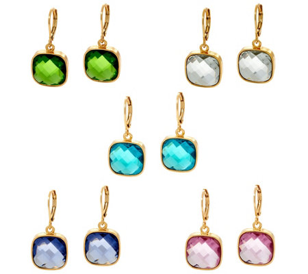 Joan Rivers Set of 5 Jewel Drop Lever Back Earrings