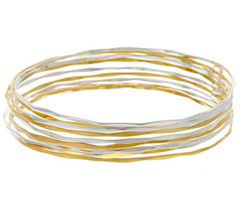 RLM Bronze Set of 9 Two Tone Hammered Bangles - J328824