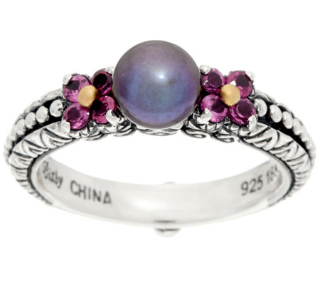 Barbara Bixby Sterling & 18K Cultured Pearl & Rhodolite Ring