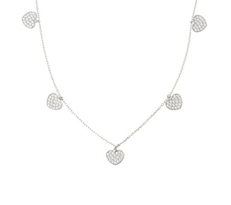 Diamonique Motif Dangle Necklace, Sterling