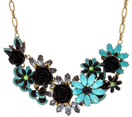 "Joan Rivers Jeweled Garden 18"" Statement Necklace w/ 3"" Extender"