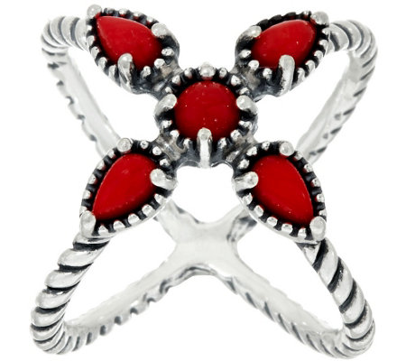 """As Is"" Carolyn Pollack Sterling Silver Red Coral X Ring"