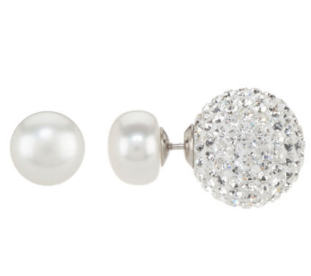 """As Is"" Honora 9.0mm Cultured Pearl & Crystal Double Sided Stud Earrings"