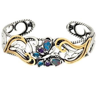 """As Is"" Carolyn Pollack Gemstone Butterfly Sterl ing/Brass Cuff - J333124"