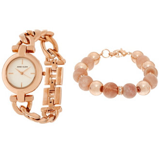 Anne Klein Rosetone Watch Watch and Pink Bead Bracelet Set - J333724