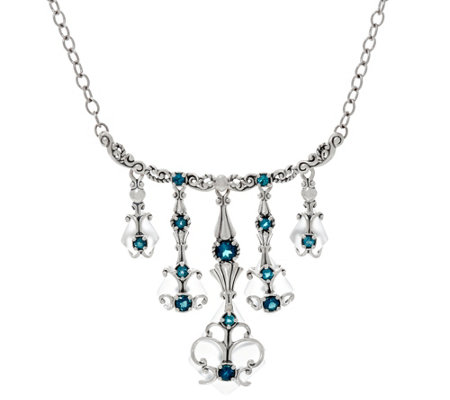 Carolyn Pollack Sterling Silver Frosted Quartz & Blue Topaz Dangle Necklace