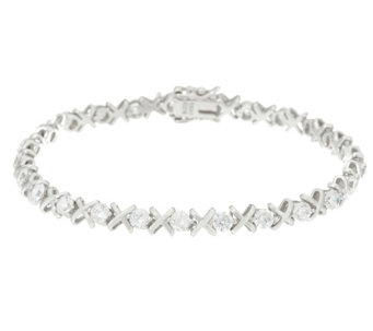 """As Is"" Diamonique XO Tennis Bracelet Sterling or 14K Clad - J346124"