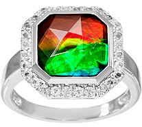 Octagon Cut Ammolite Triplet Sterling Silver Ring - J346224