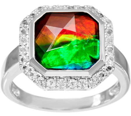 Octagon Cut Ammolite Triplet Sterling Silver Ring